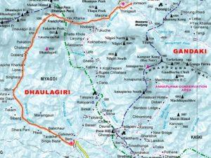 Dhaulagiri Circuit Trekking Map - Aroma Nepal Treks