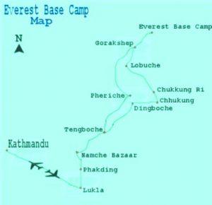 Everest Basecamp Map - Aroma Nepal Treks