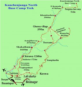 Kanchanjunga Map - Aroma Nepal Trels