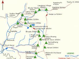 Langtang Trekking Map - Aroma Nepal Treks