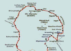 Manaslu Map - Aroma Nepal Treks