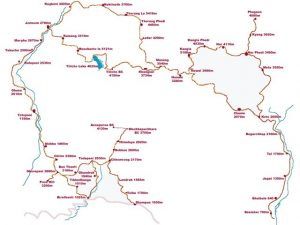 Round Annapurna Map - Aroma Nepal Treks